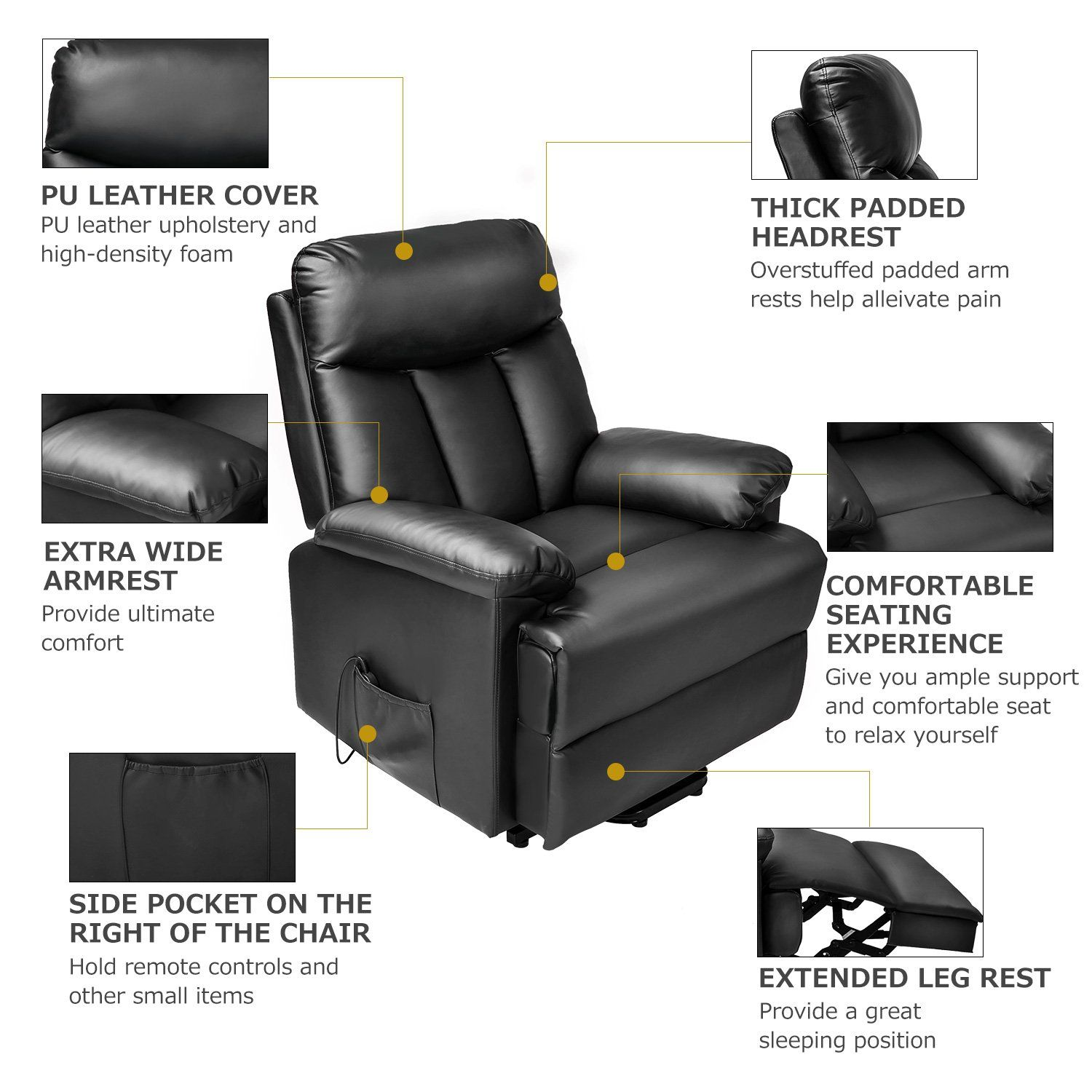Astounding Merax Power Lift Chair Recliner In Pu Leather Living Room Gmtry Best Dining Table And Chair Ideas Images Gmtryco