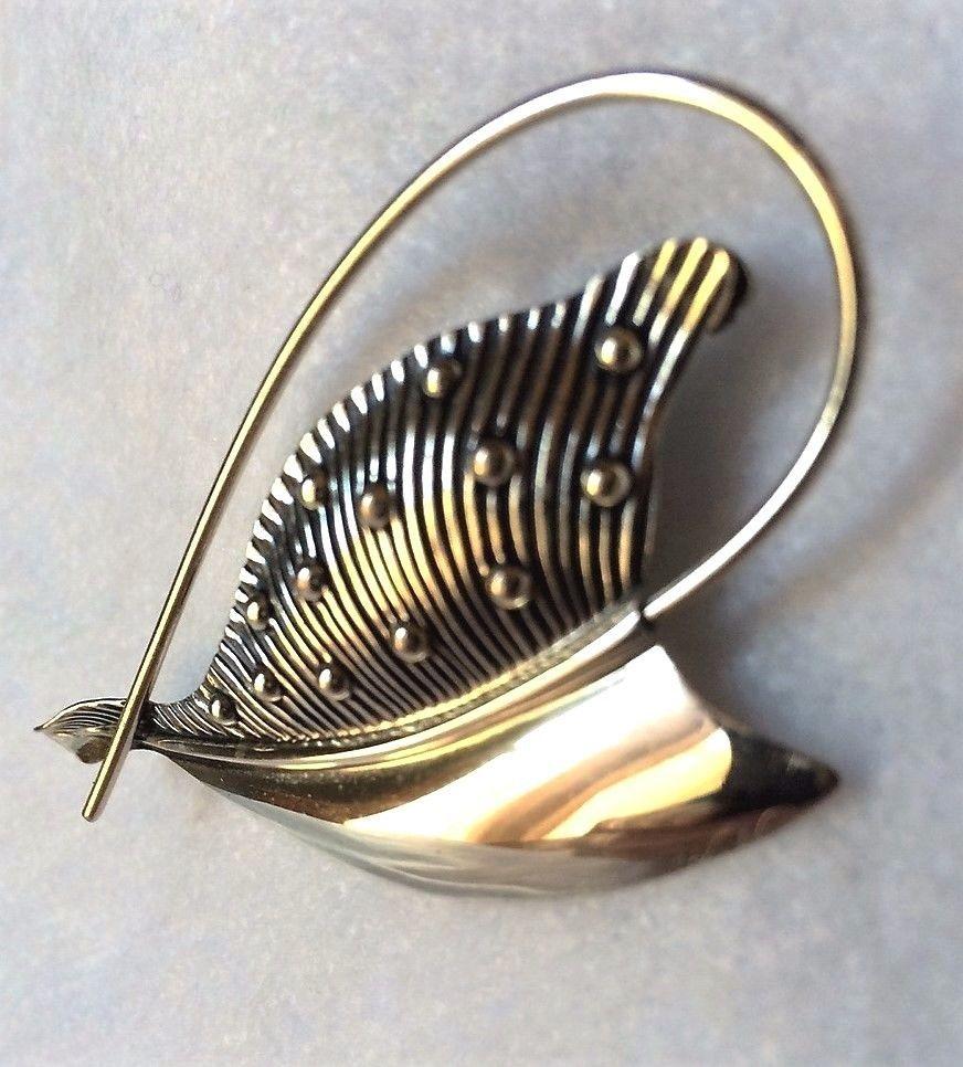 Vintage Beau Beaucraft Sterling Silver Leaf Design Brooch Pin eBay