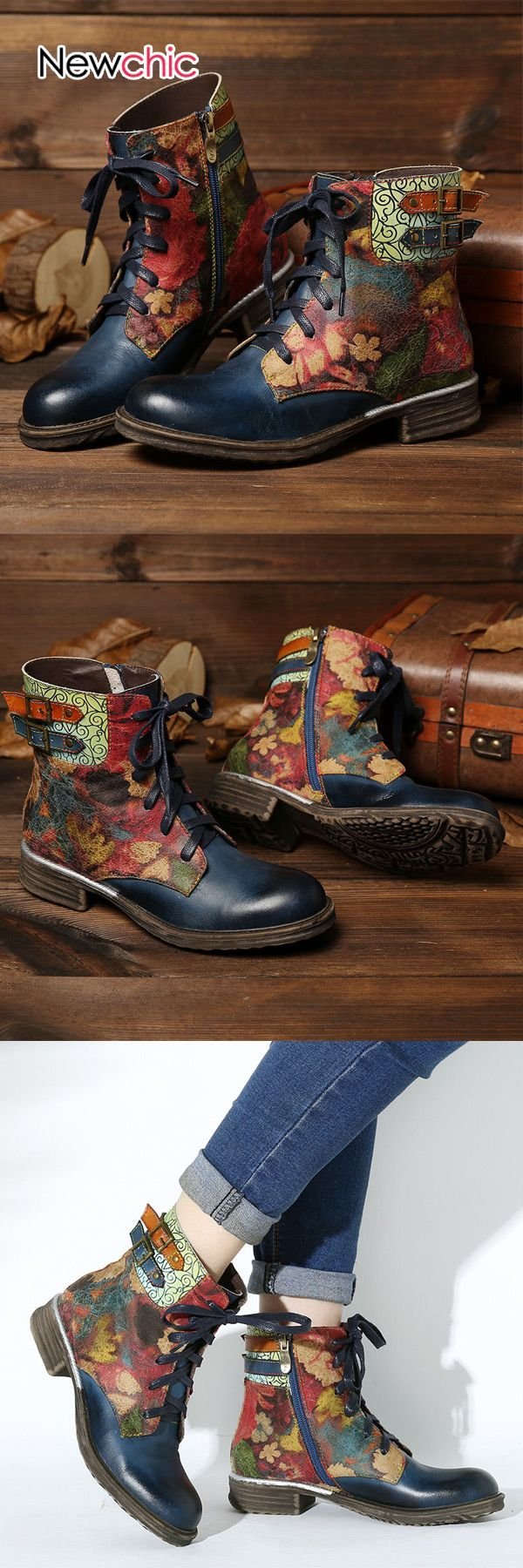 Photo of 【Shop Now】59% OFF #SOCOFY Womens #Watercolor Rose #Genuine Leather #Zipper Lace Up #Flat #Boots
