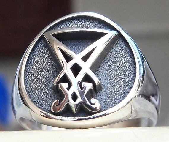 Sigil Of Lucifer Hd Wallpaper: Sigil Of Lucifer Seal Of Satan Gothic 3D Ring Solid
