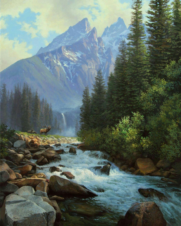 здесь горы и лес картина возможно какая-то