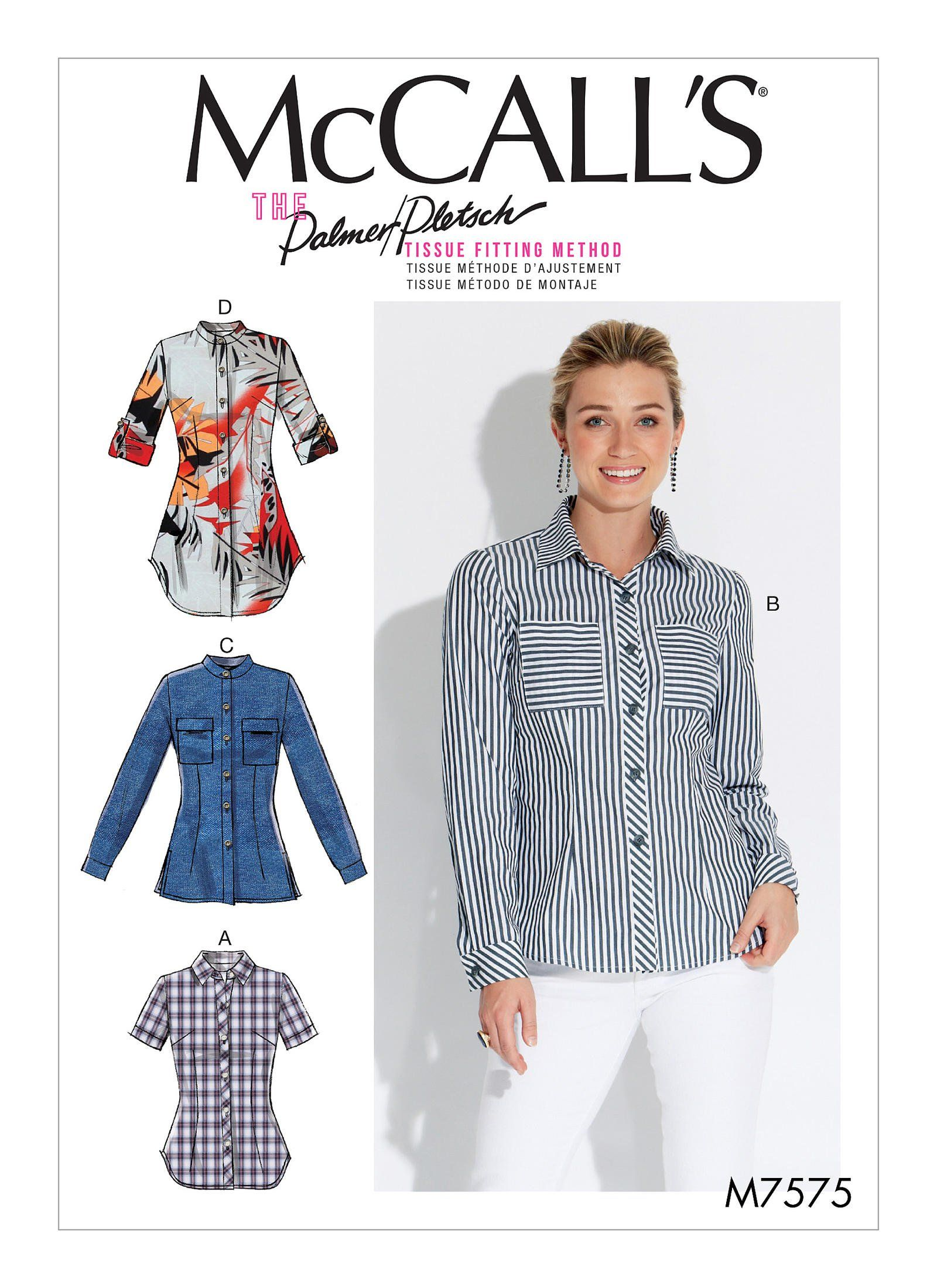 McCalls 4 Made for You Pattern 6035 Misses Button Front Shirts Size 14-16-18-20-22