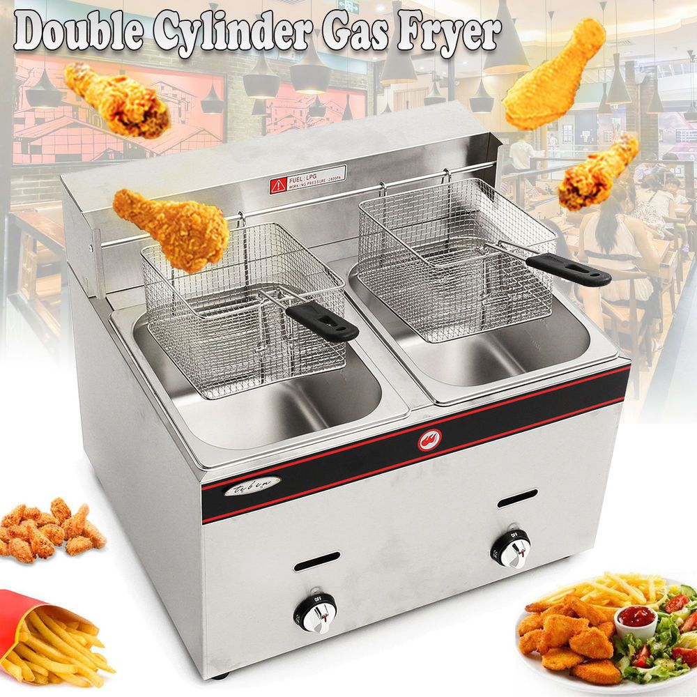 Tb Stainless Steel Propan Gas Commercial Countertop Deep Fryer