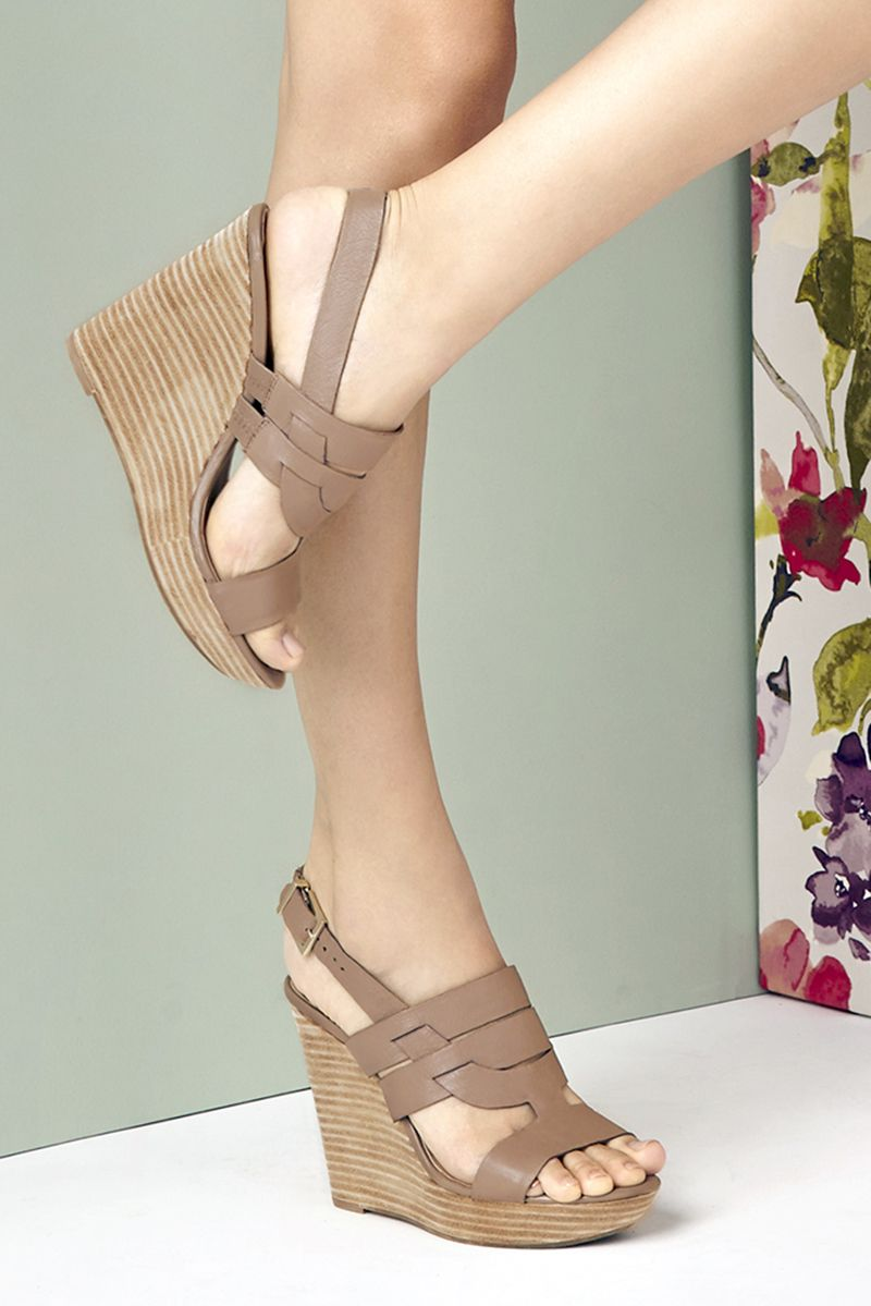 c01d8569bd Taupe leather platform wedges with comfortable stacked heels | Sole Society  Jenny