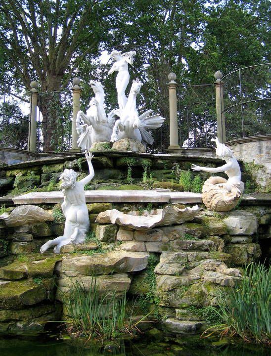 York House Cascade or The Oceanides by Oscar Spalmach (Italian, 1864-1917)Two left: Venus standing between the hippocampi. Right: Two nude nymphs .