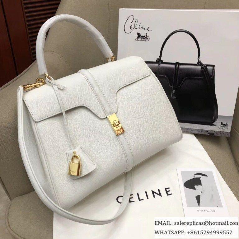 a8870e939b8a Celine Medium 16 Bags-Grained Calfskin-White