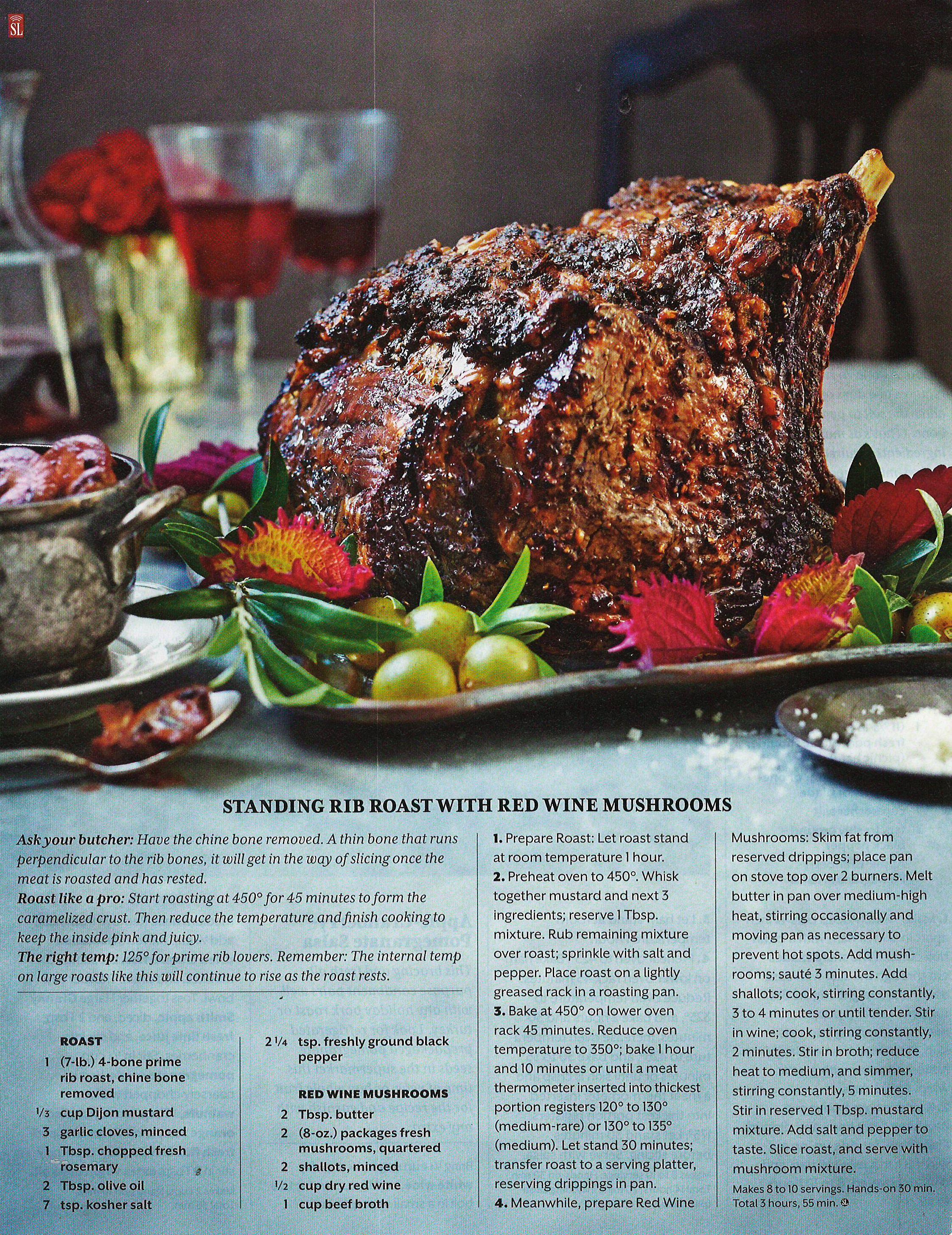 Standing Rib Roast With Red Wine Mushrooms | Holiday Food ...