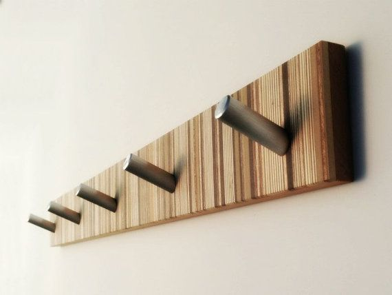 Coat Rack Modern With Metal Pegs Home Decor Long Wall