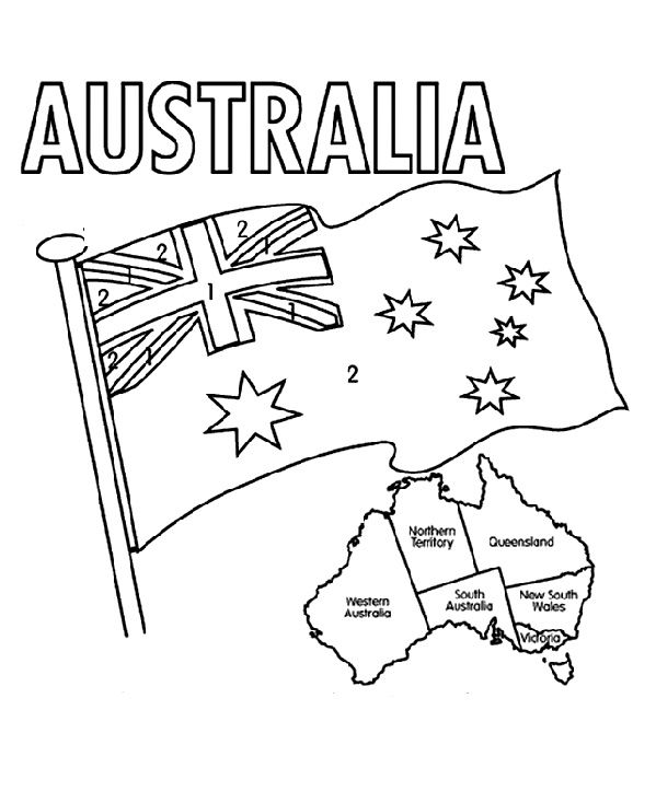 The Australian Flag Flying Day Coloring Pages Australia Flag