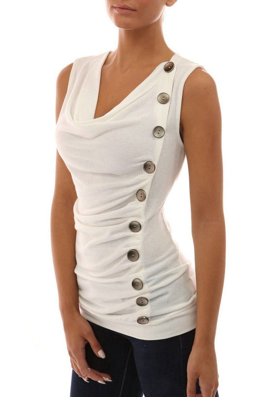 b4afed2155499 Buttons Ruffles Decorate Slim Tank Top