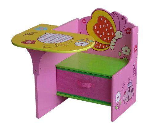 Ordinaire Toddler Desk With Attached Chair And Storage | 4Gr8 Kidz Pink Series Kids  Wooden Chair Desk