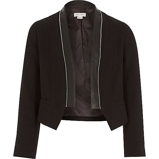 Girls black zip collar jacket - coats / jackets - sale - girls ...