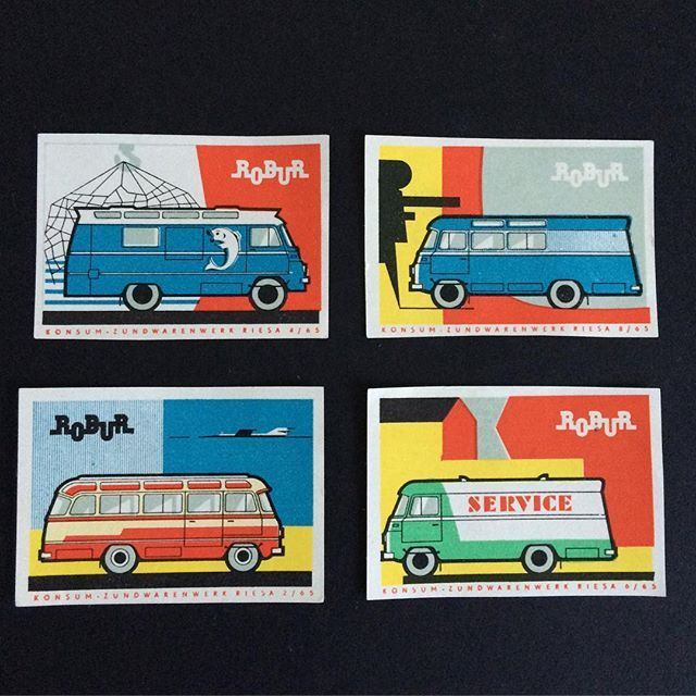 Vans. Midcentury matchbox labels promoting Robur. Presumably an electrical contractor and from Eastern Europe. Would guess from the 1960s. #vans #vintagematchboxlabel #easterneuropean #vintage #midcenturymodern #vans