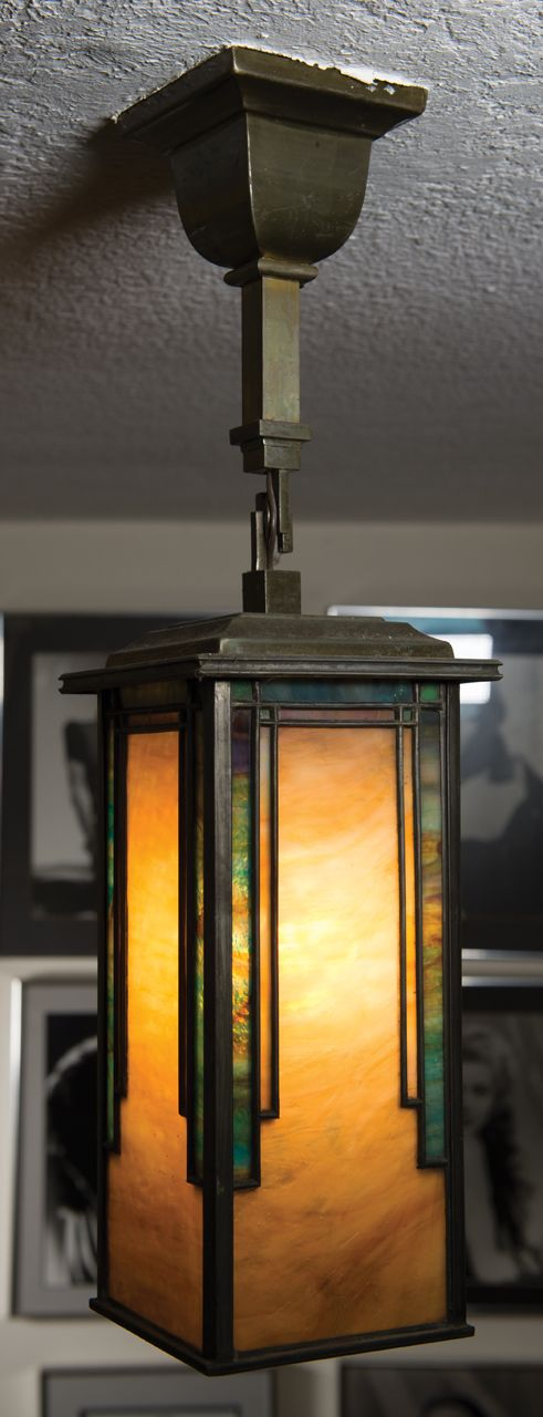 Mission style Arts & Crafts hanging light fixture. | Stained glass ...
