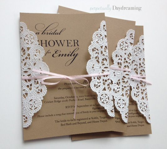 elegant country bridal shower invitations tutorial lace doily and craft paper learn how to make these gorgeous invitations so easy and a great way to