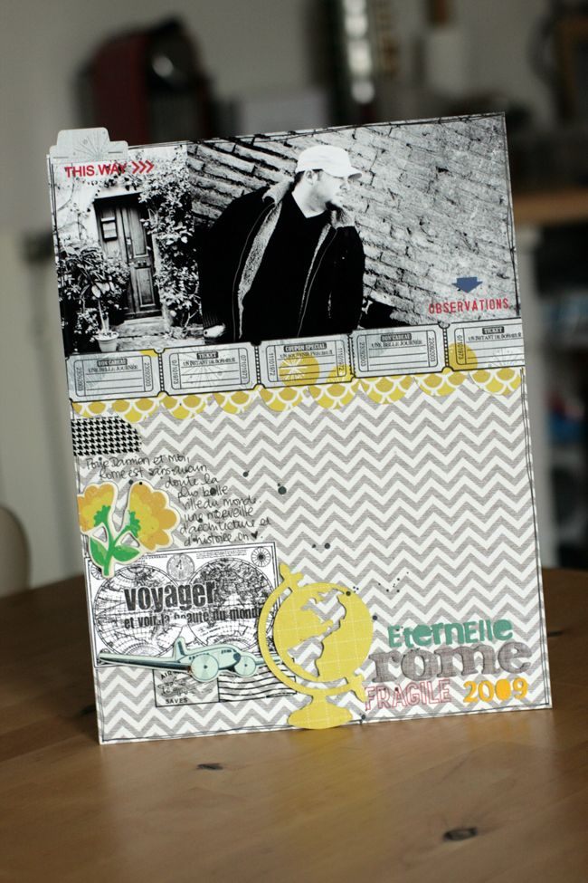 Chevron #scrapbook #layout #layers #stamp #tag