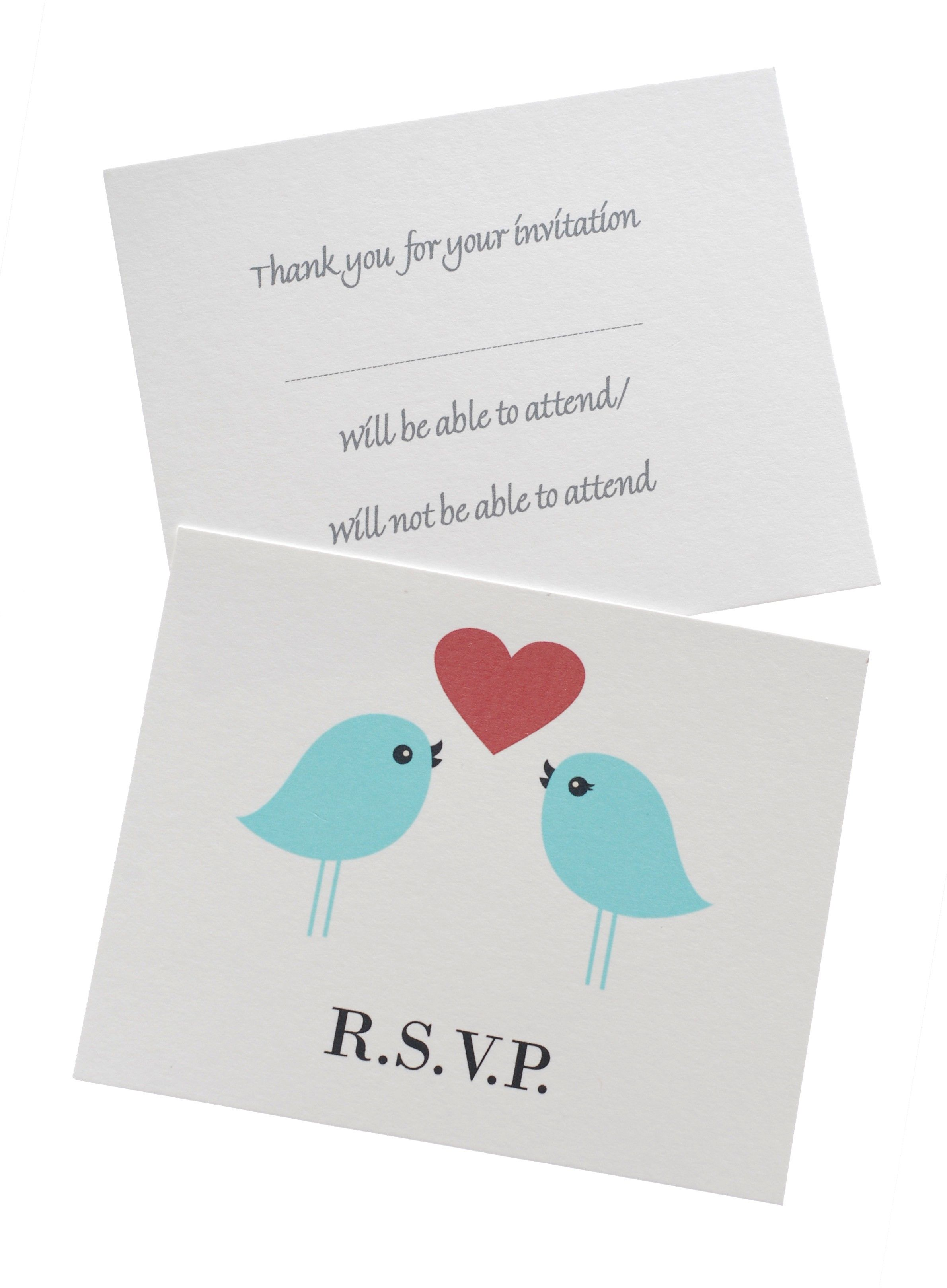 Love Birds Small RSVP Wedding Reply Cards (With images