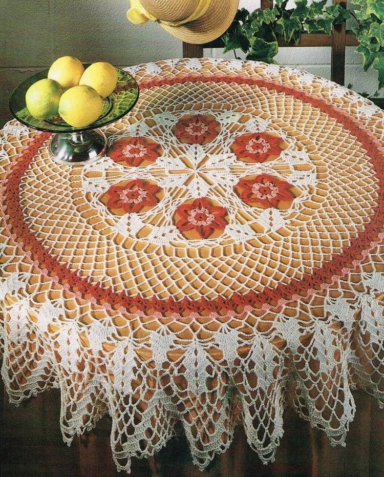 Flower Table Topper Tablecloth Crochet Pattern Instructions