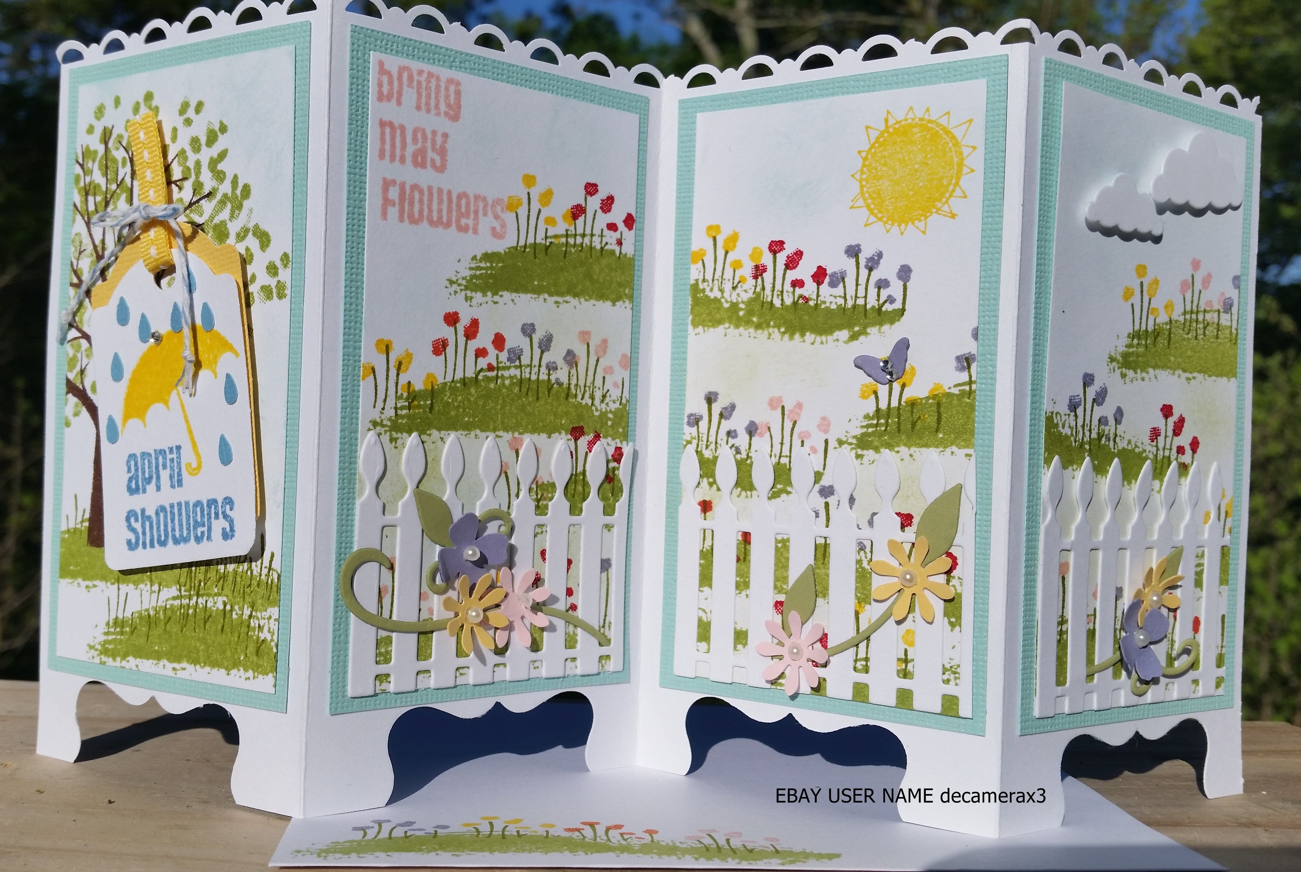 April Showers Bring May Flowers Screen Divider Card Used Sheltering Tree Stamp Set From Stampin Up Handmade By Quinn