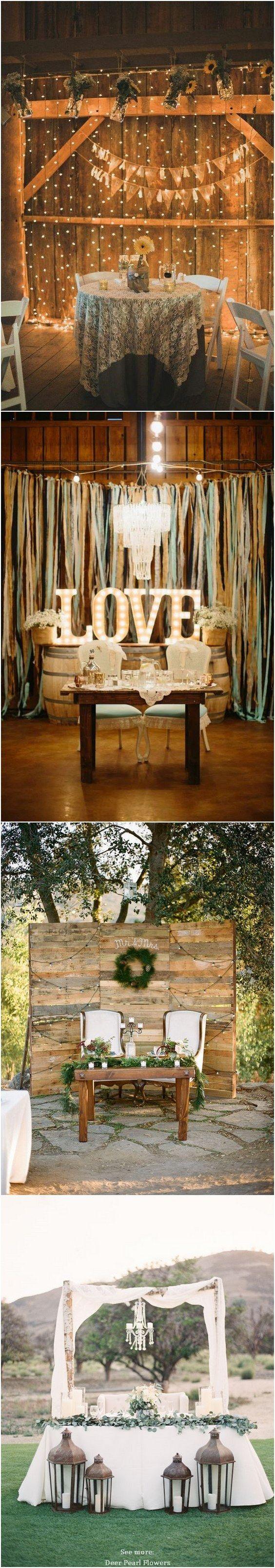 Top 20 Rustic Country Wedding Sweetheart Table Ideas | Sweetheart ...