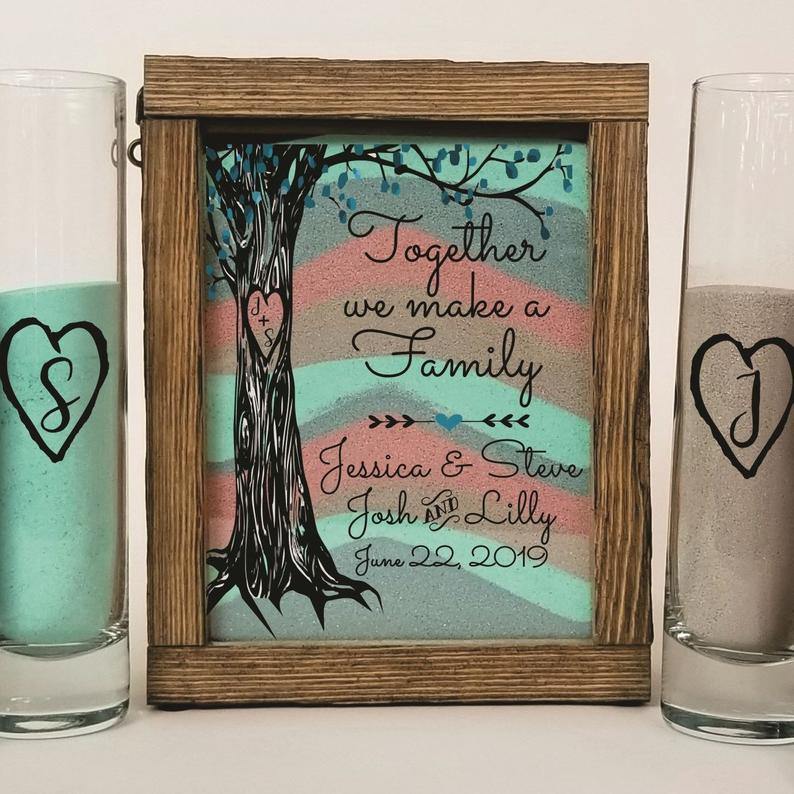 Beach Wedding Candle Ceremony: Sand Ceremony Set For Blended Family, Rustic Wedding