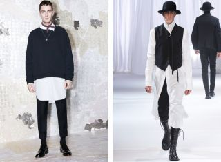 Acne  Ann Demeulemeester Remember when Kanye wore the Givenchy kilt, and everyone was so upset about it? Get ready to see more of that. The kids today are falling...