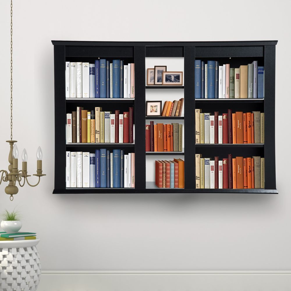 Black hanging rack wall mounted organizer storage wooden office study furniture