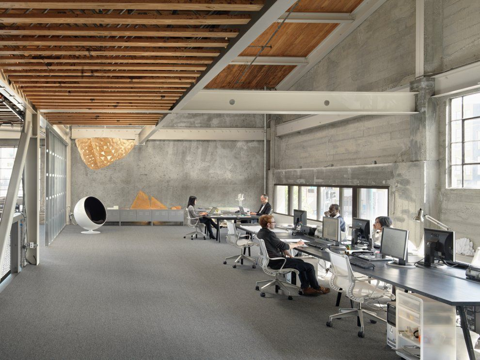 Industrial Corporate Office Interiors Concrete And Raw Wood