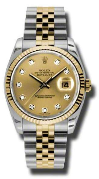 e8b2e5c1658 Rolex Datejust 116233 CDJ Steel and Yellow Gold champagne Diamond 36mm Watch  White Watches For Men
