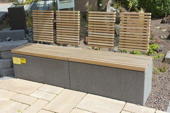 Gartenbank Modern Holz Aus Stein Rinn Beton Und In 2020 Betonblock Garten Sitzbank Garten Beton Gartenbank