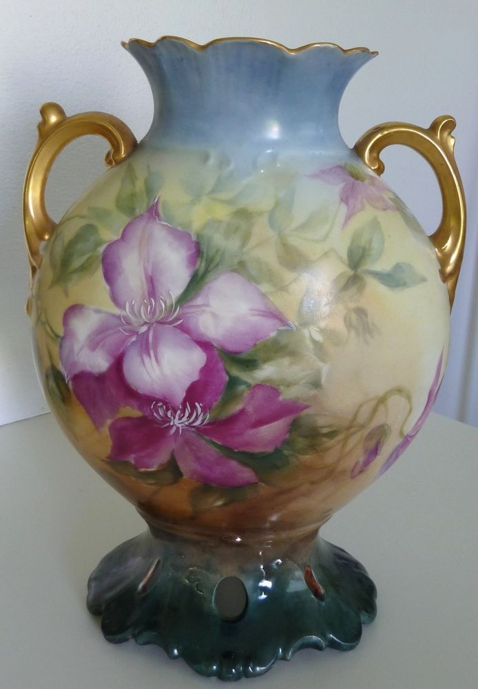 Antique J P Limoges France Hand Painted Floral Vase Gilt Handles