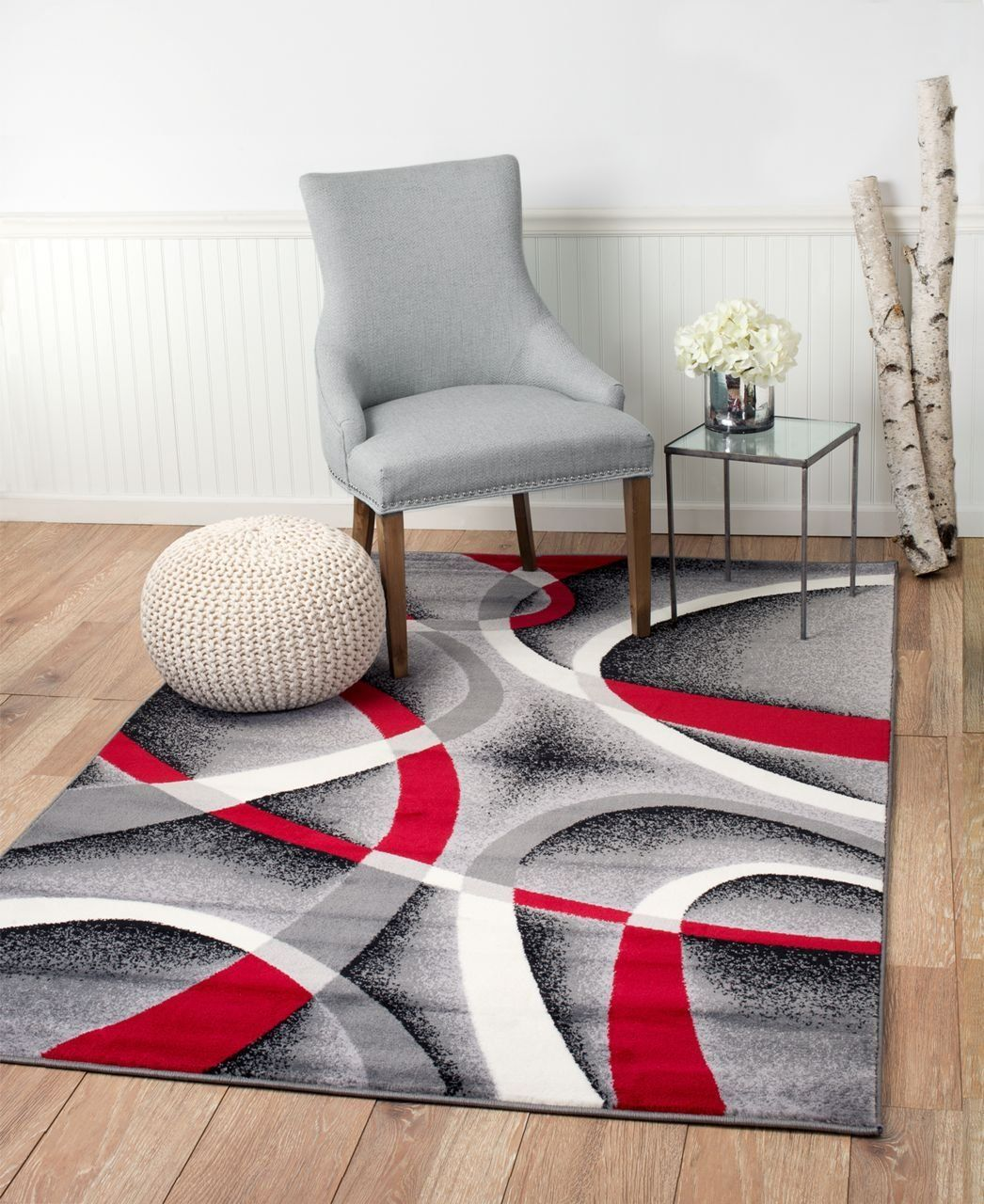 Area Rug With Black Red And Gray Colors Get This Modern Abstract