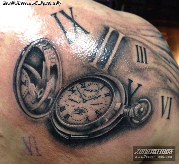 Tatuaje De Relojes Numeros Romanos Omoplato Tatoo Tattoos