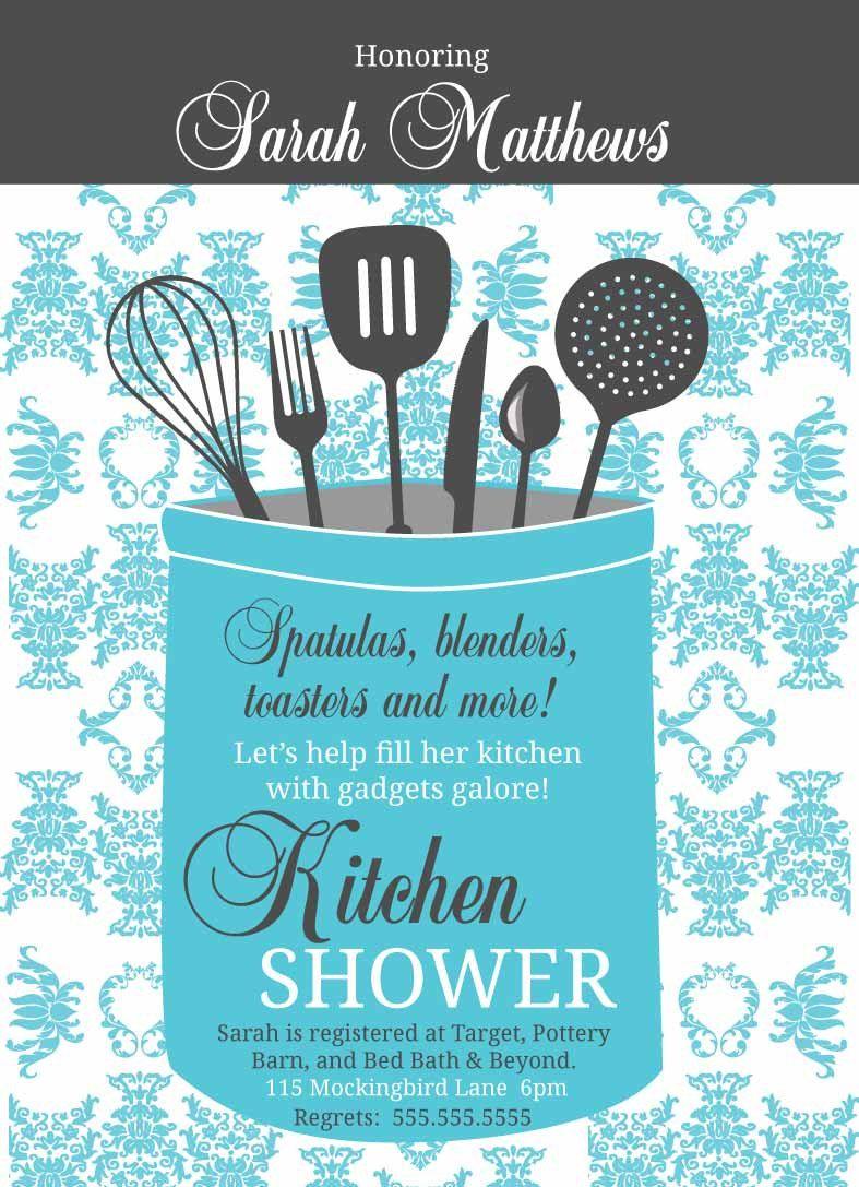 Kitchen Shower DIY Utensils Gifts Bridal Shower Damask Pattern ...