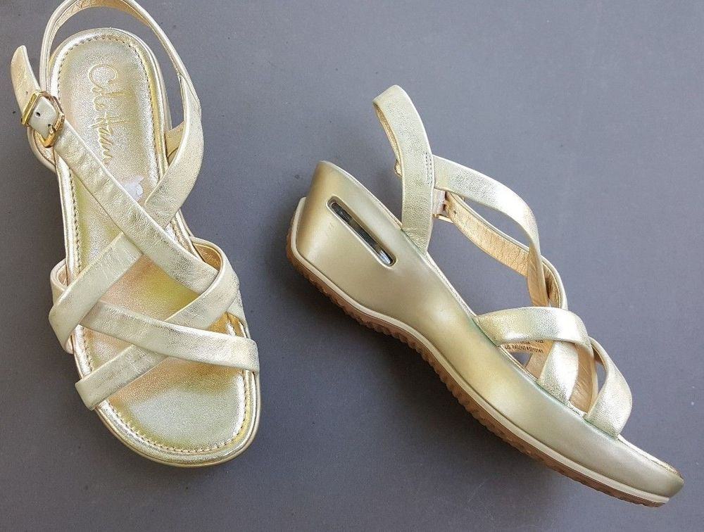 ad4eed3c3 COLE HAAN Nike Air Women s Sandals Gold Leather Wedge Sporty Platform Size  6.5  ColeHaanNIkeAir