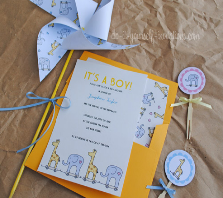 10 awesome diy baby shower invitations for boys disney baby giraffe and elephant printable baby shower invitation kit includes invitation envelope liner cupcake topper pinwheel and bunting flags filmwisefo Gallery