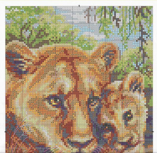 Схемы вышивок крестиком лев