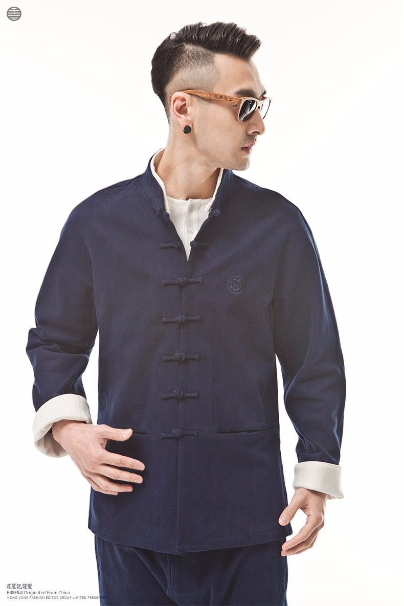 552e4e15a Chinese Traditional Clothing For Men Tang Suit Top Chinese Original Coat  Fashion National Trend Cotton Blue Jacket Quality Dress-in Tops from  Novelty ...