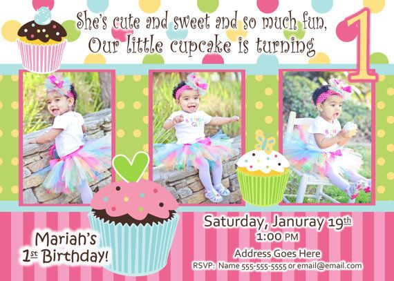 Cupcake Invite Birthday Party Sweet Treats Cupcake invitation Photo
