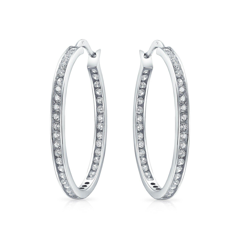 Women/'s Solid 925 Sterling Silver CZ Cubic Zirconia Round Dangle Hook Earrings