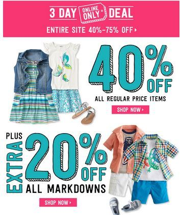 Crazy 8 40 Off Regular Prices Extra 20 Off Markdowns Online Only Pinching Your Pennies Markdown 20 Off Online
