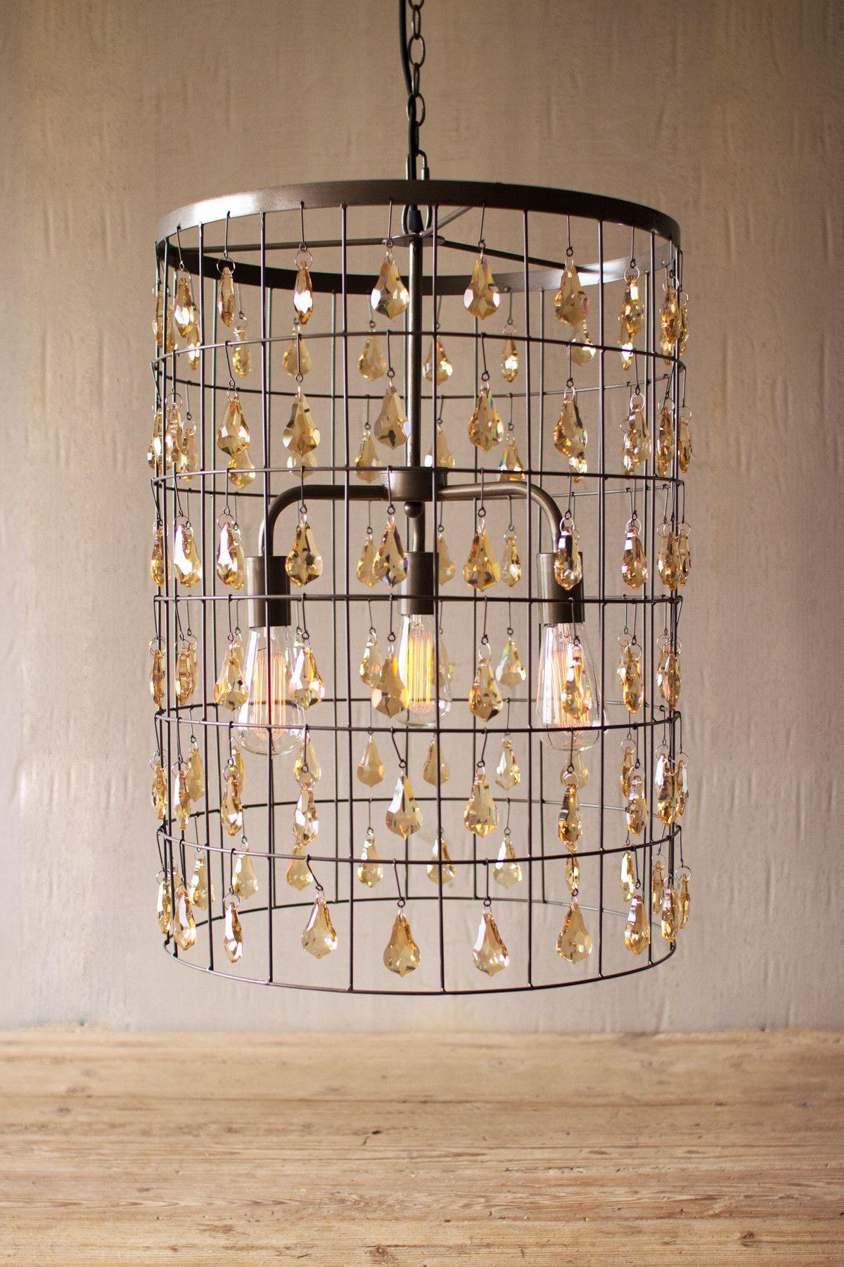 Kalalou large cylinder pendant light with amber gems