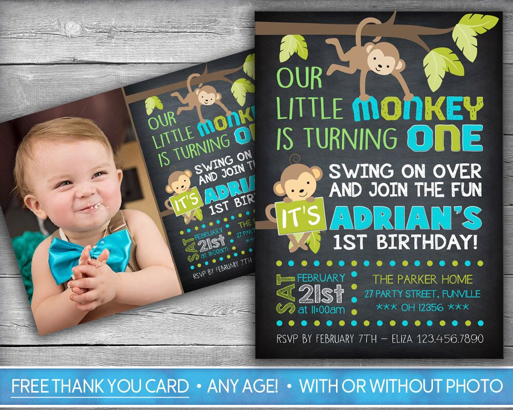 Monkey Invitation | Monkey Invite | First Birthday Invitation ...