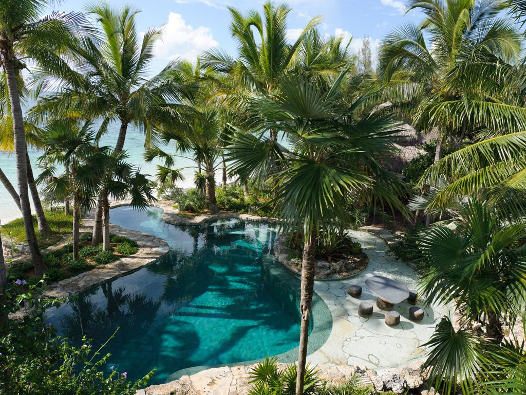 Island lagoon pool w palms beach raymond jungles inc for Tropical pool gardens