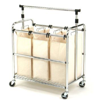 Amazon Com Seville Classics Web153 3 Bag Laundry Sorter With
