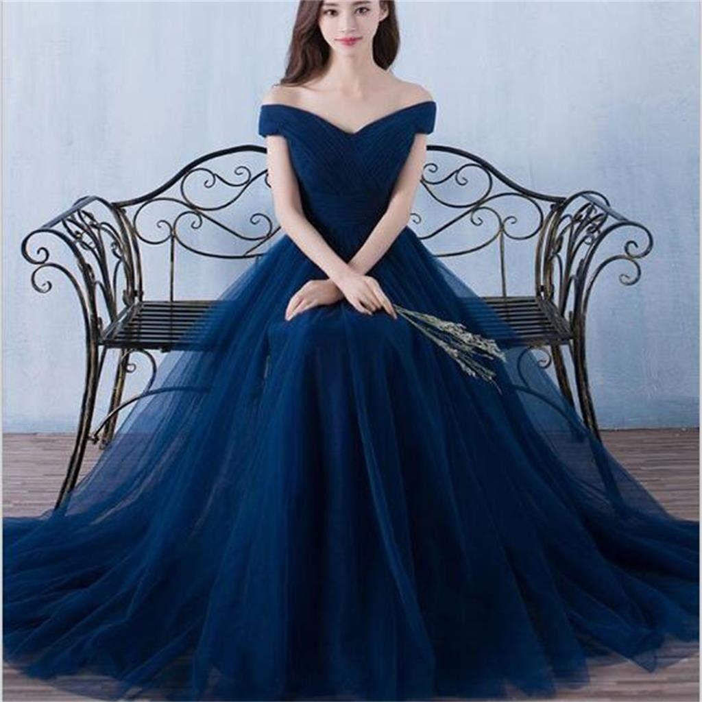 Long off shoulder navy blue tulle simple popular bridesmaid dresses