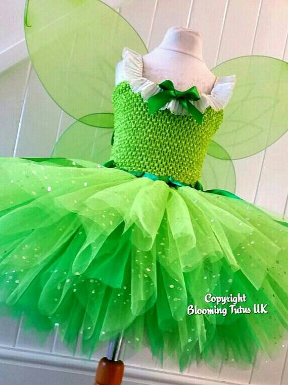 Princess Girl Costume Cosplay Tinkerbell Magic Fairy Tutu Dress Up W// Wing Gifts