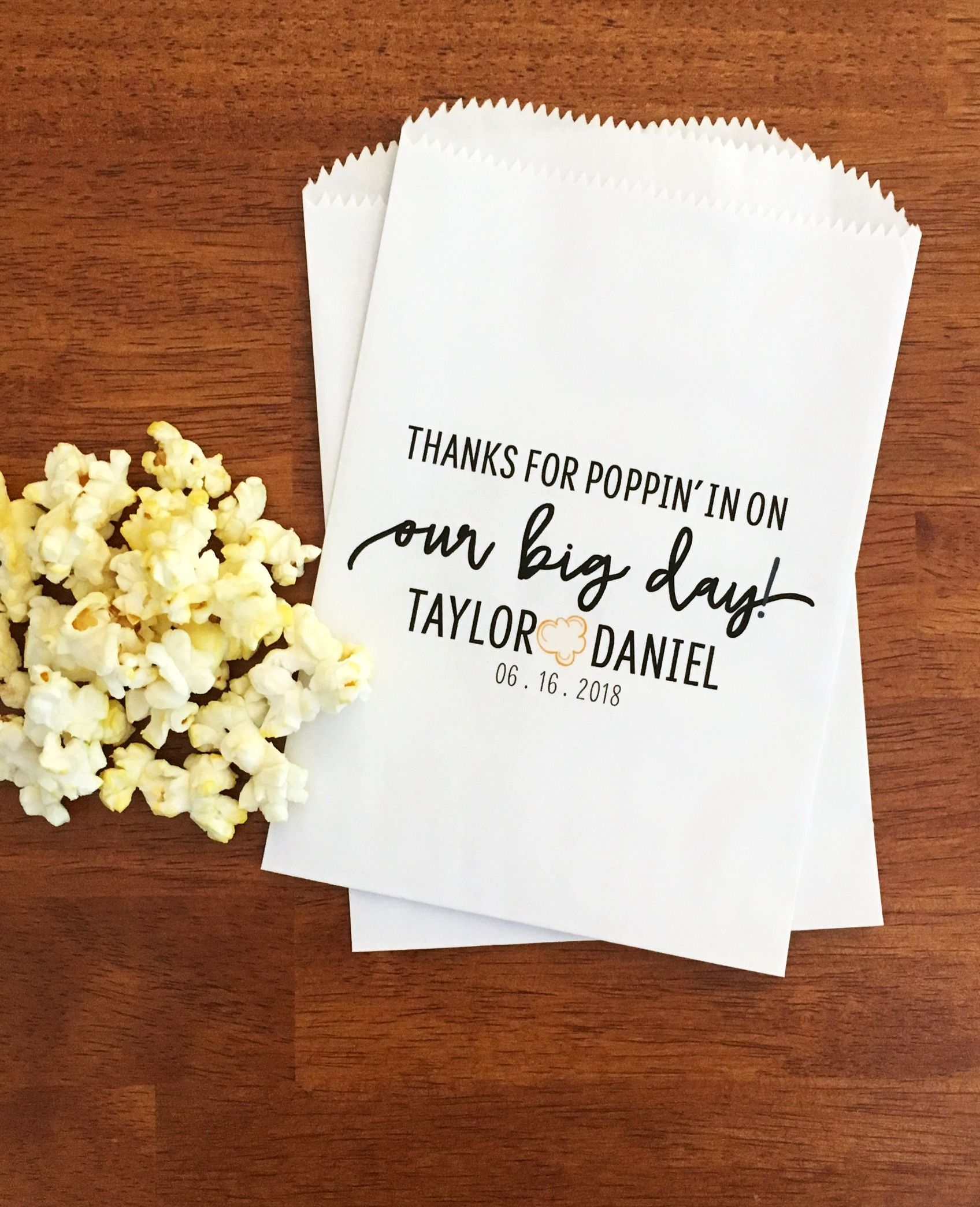 Wedding Popcorn Bags Lined Favor