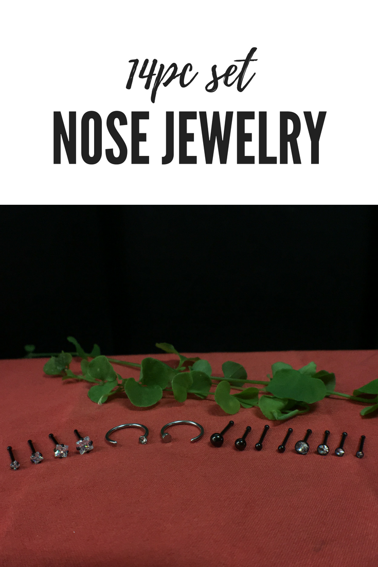 Cute nose piercing jewelry  BodyJYou PC Nose Hoop Rings G Stainless Steel Black Nose Bone