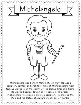 Photo of Michelangelo, Famous Artist Informational Text Coloring Page Craft or Poster